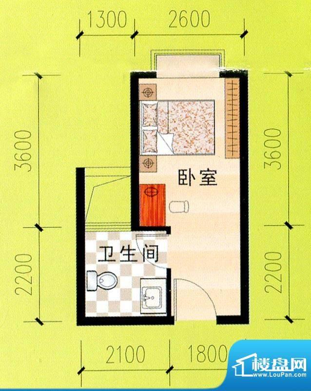 东峰广场C、D、E#f户面积:23.43m平米