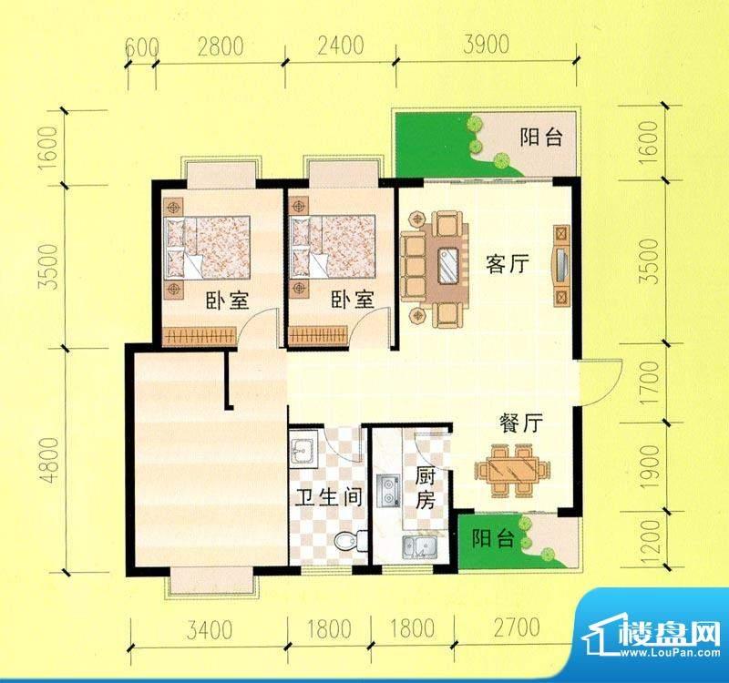 东峰广场C、D#e户型面积:102.43m平米