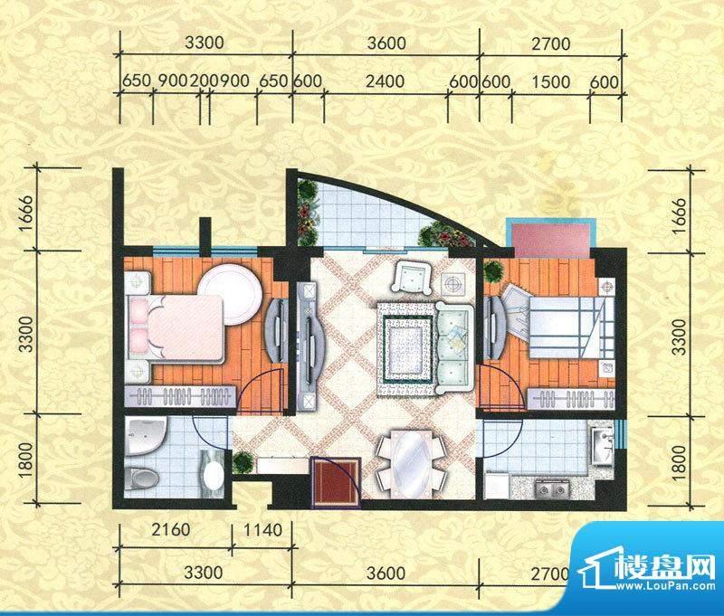 天富花苑B户型图 2室面积:62.82m平米