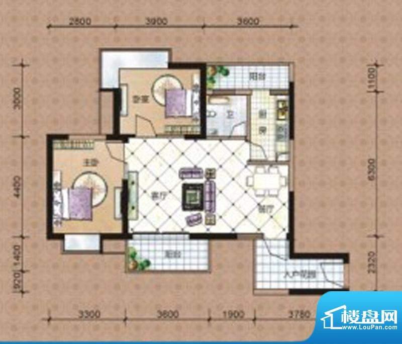 海湾茗园1#2单元05房面积:88.85m平米