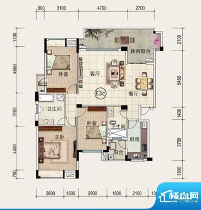 中安·止泊园E3C户型面积:131.43m平米