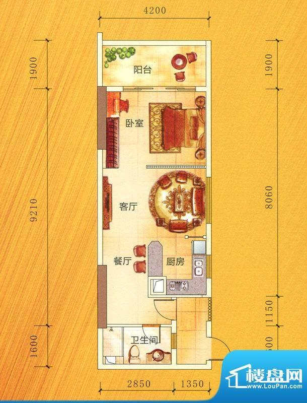 穗丰金湾B1户型图 1面积:62.89m平米