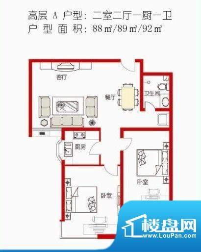 金河湾高层A户型 面积:0.00m平米