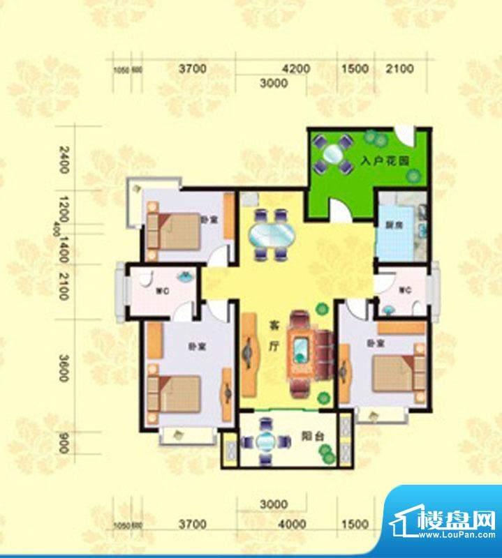海德堡3#C户型图 3室面积:135.56m平米