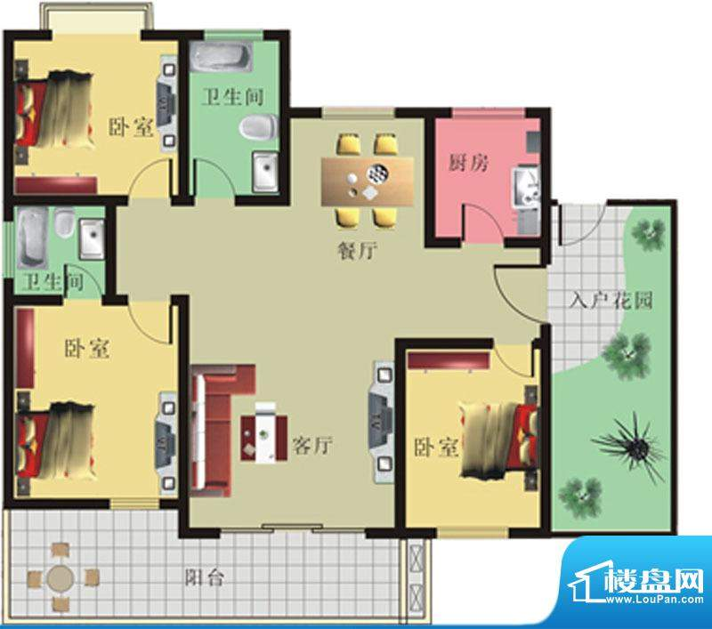 棕榈泉花园公寓1#、面积:146.09m平米