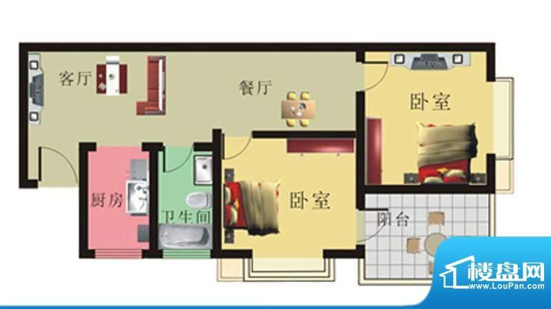 棕榈泉花园公寓1#、面积:70.44m平米
