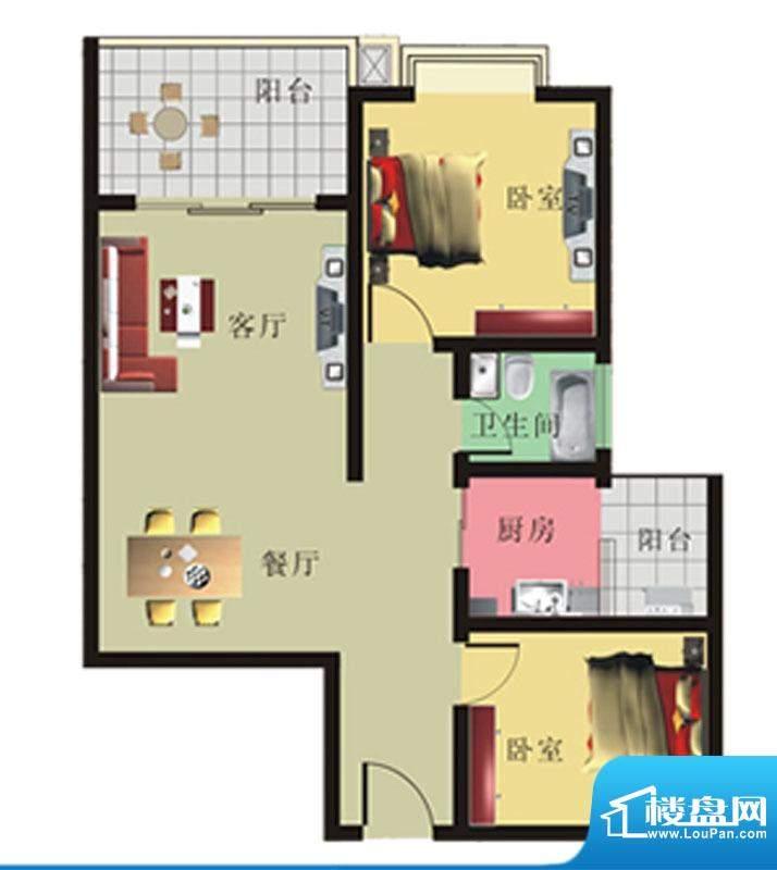 棕榈泉花园公寓2#、面积:88.16m平米