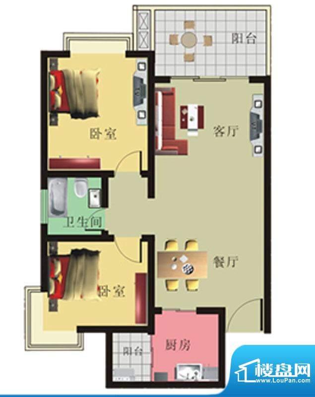 棕榈泉花园公寓2#、面积:88.71m平米