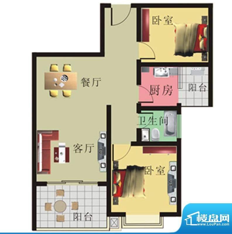 棕榈泉花园公寓4#、面积:87.84m平米