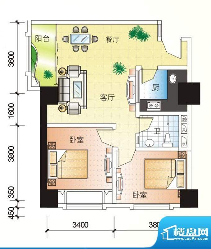 北海大厦E户型图 2室面积:94.81m平米