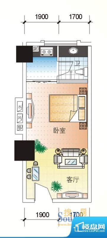 北海大厦C户型图 1室面积:42.06m平米