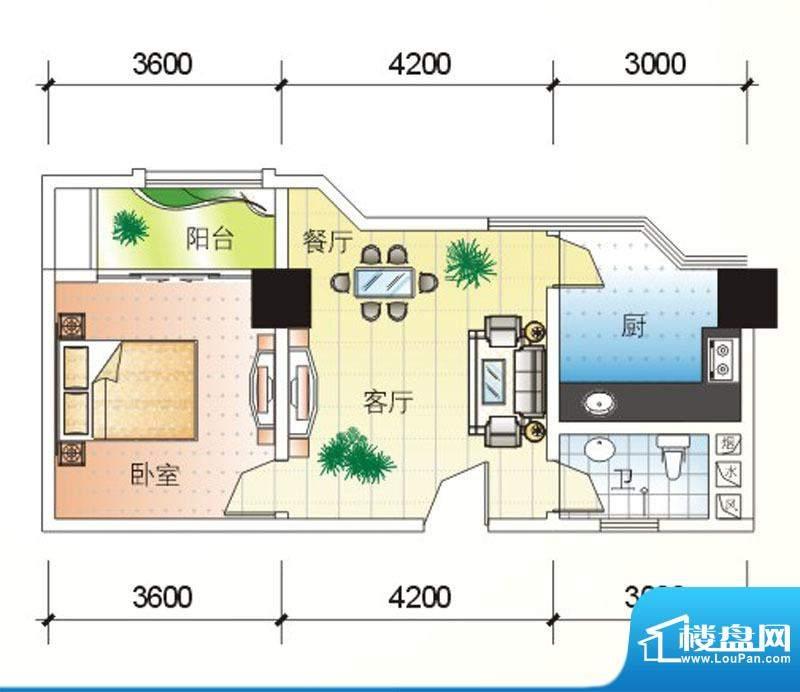 北海大厦A户型图 1室面积:72.70m平米