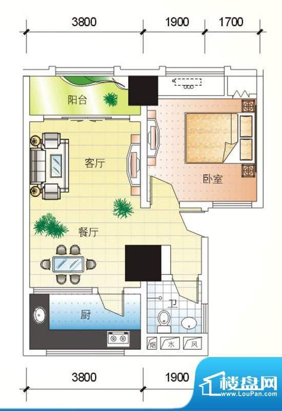 北海大厦B户型图 1室面积:75.73m平米