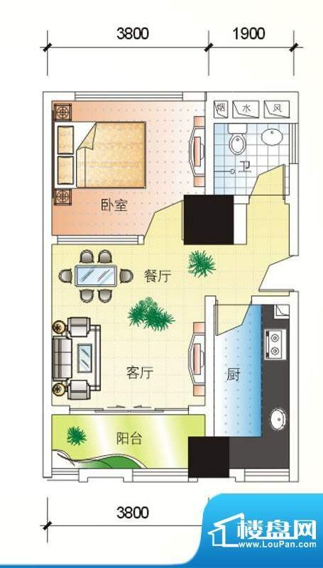 北海大厦G户型图 1室面积:63.95m平米