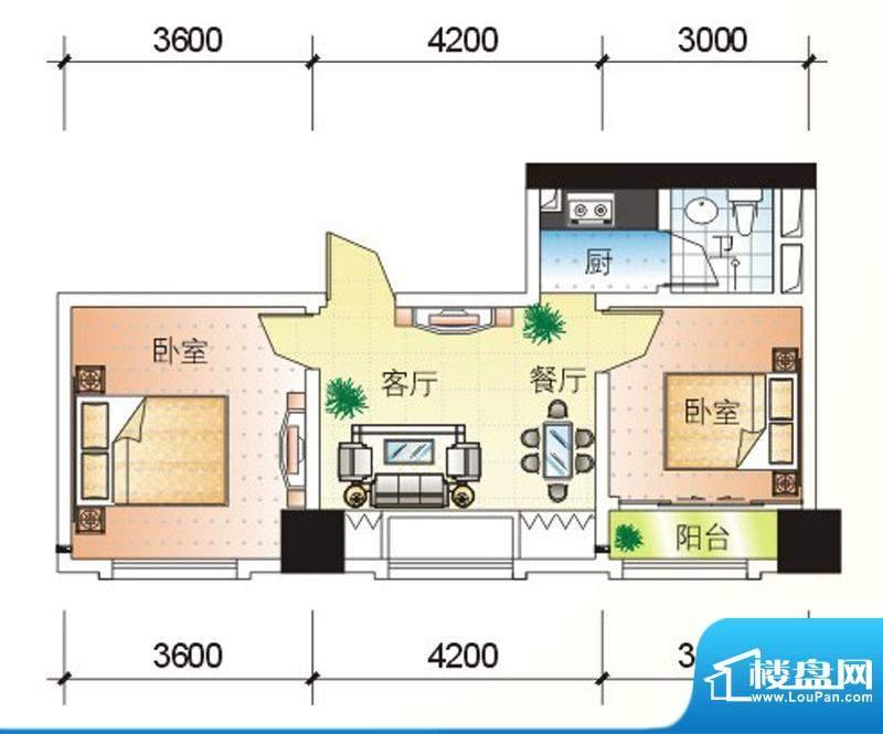 北海大厦H户型图 2室面积:68.69m平米