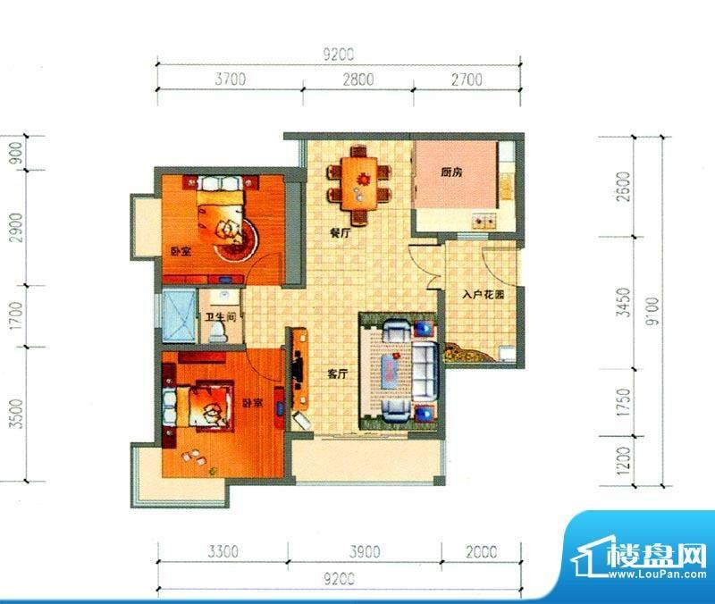 锦绣湾花园B2户型图面积:83.00m平米