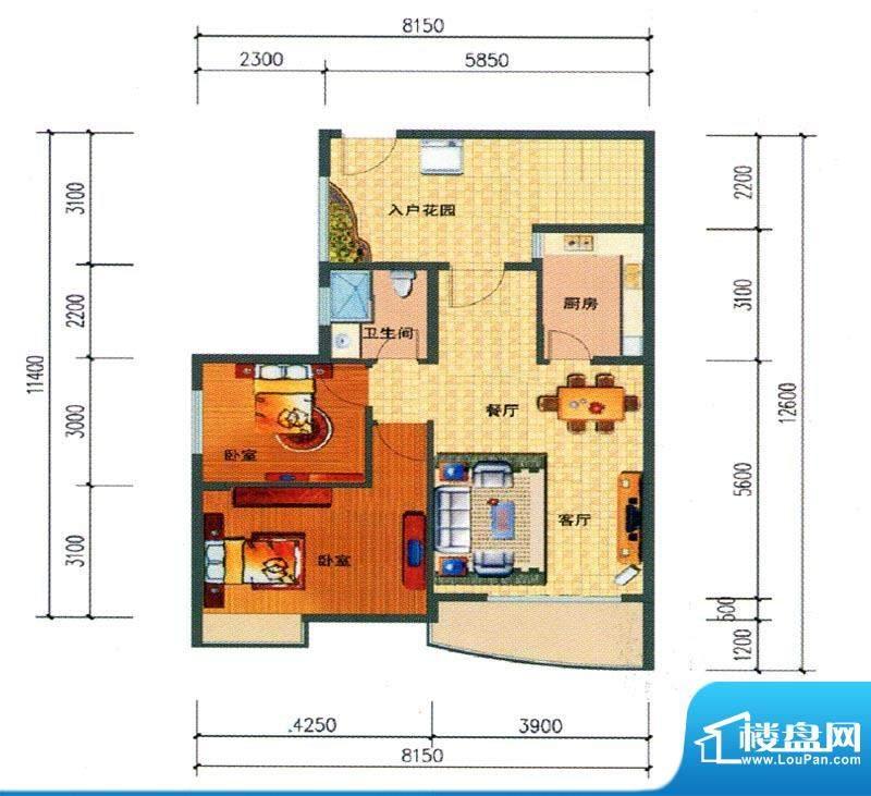 锦绣湾花园B4户型图面积:87.54m平米