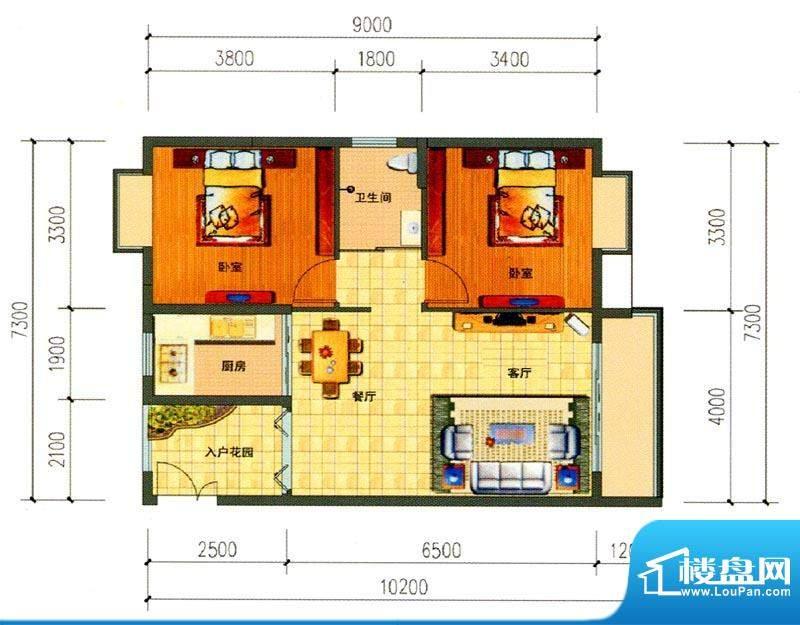 锦绣湾花园B5户型图面积:80.61m平米