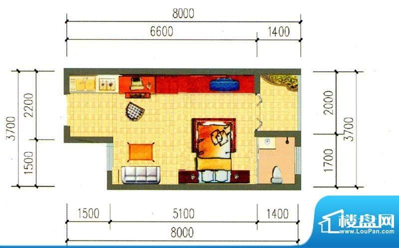 锦绣湾花园B6户型图面积:31.85m平米