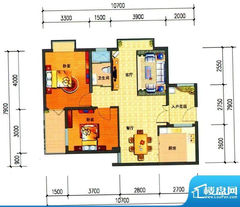 锦绣湾花园B1户型图面积:85.97m平米