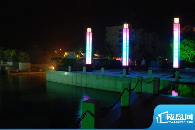 蓝色海岸国际家园第三期小区园林夜晚实