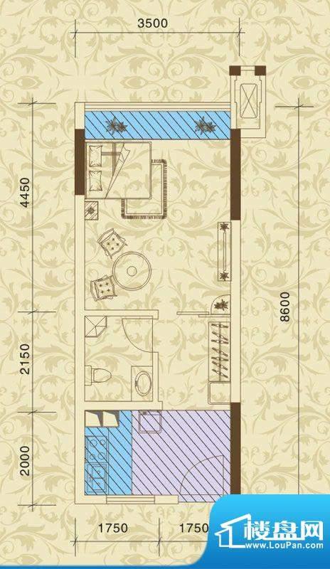 东方之珠花园B户型 面积:27.35m平米