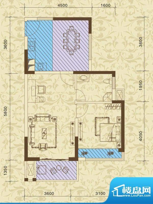 东方之珠花园F户型 面积:52.71m平米