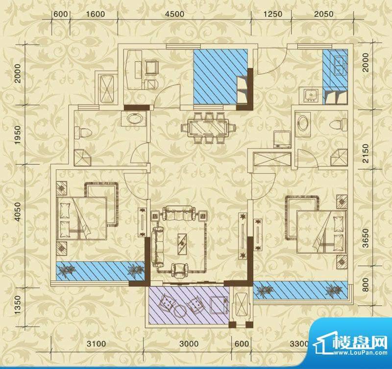 东方之珠花园H户型 面积:82.97m平米