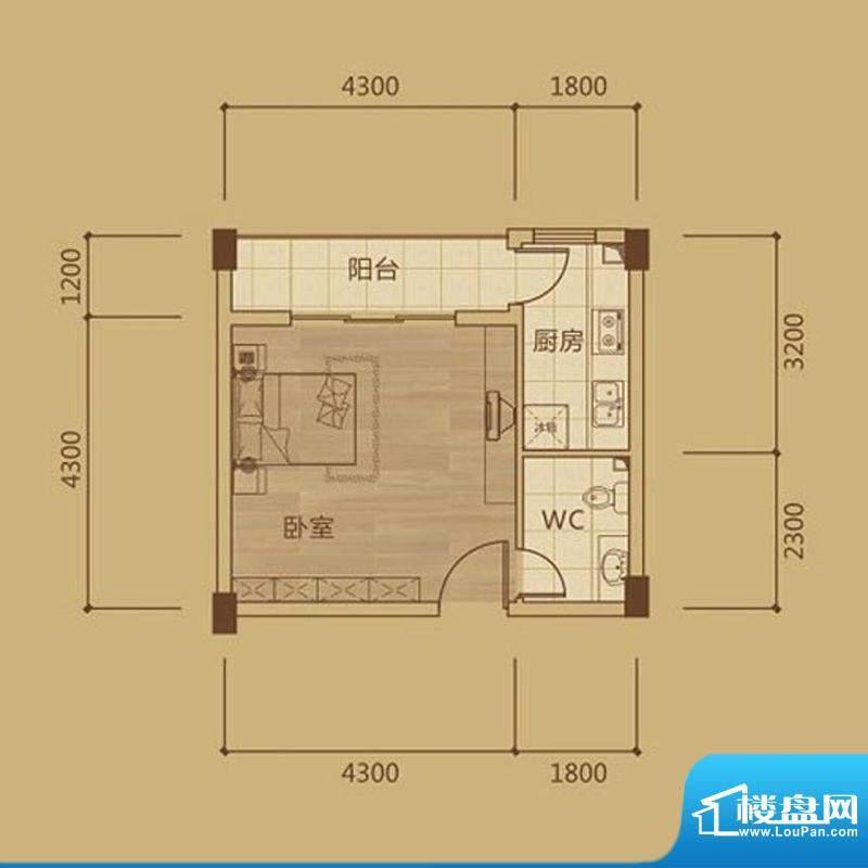 金海城1#A2一房套房面积:0.00m平米