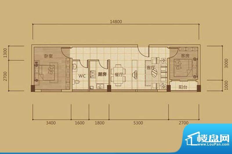金海城1#A3两房两厅面积:0.00m平米