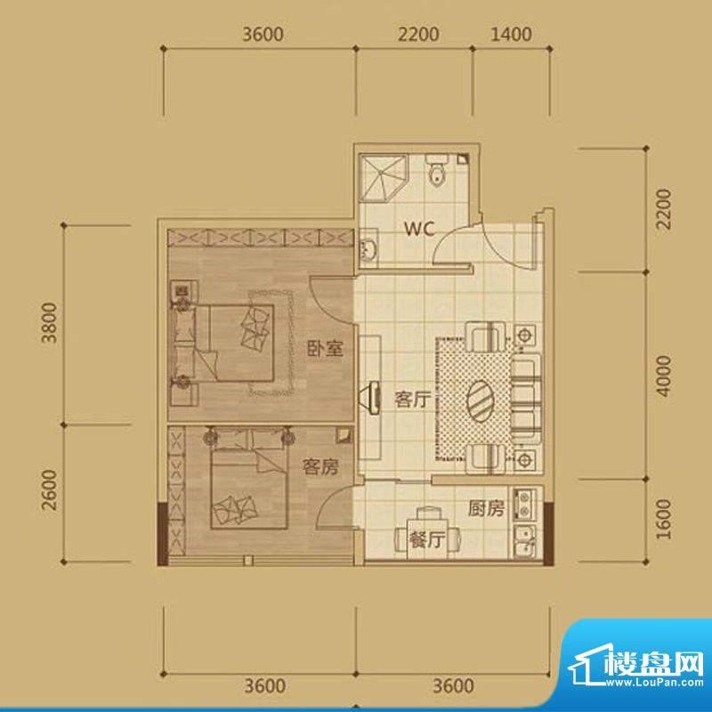 金海城2#B3一房两厅面积:0.00m平米