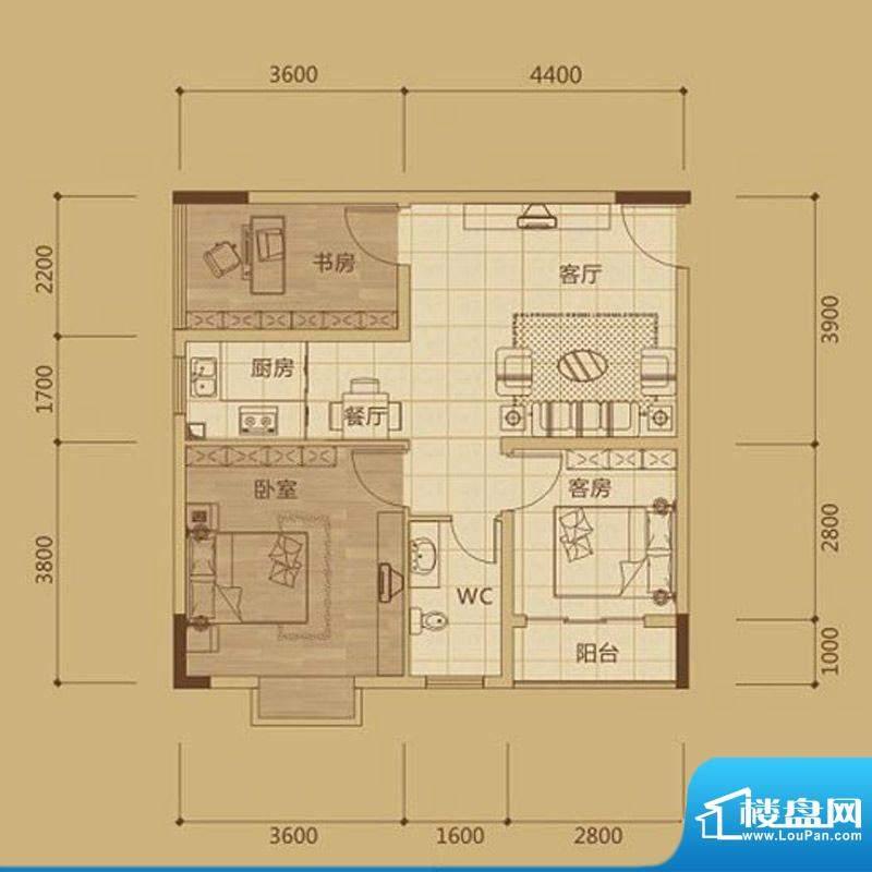 金海城2#B21 2房两厅面积:0.00m平米