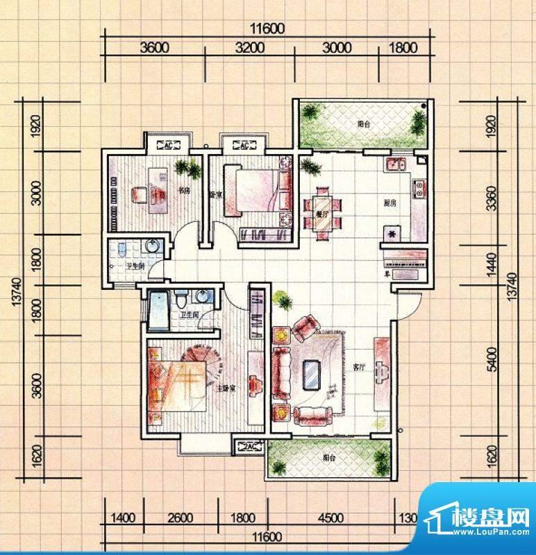耀辉美好家园9#3—5面积:128.00m平米