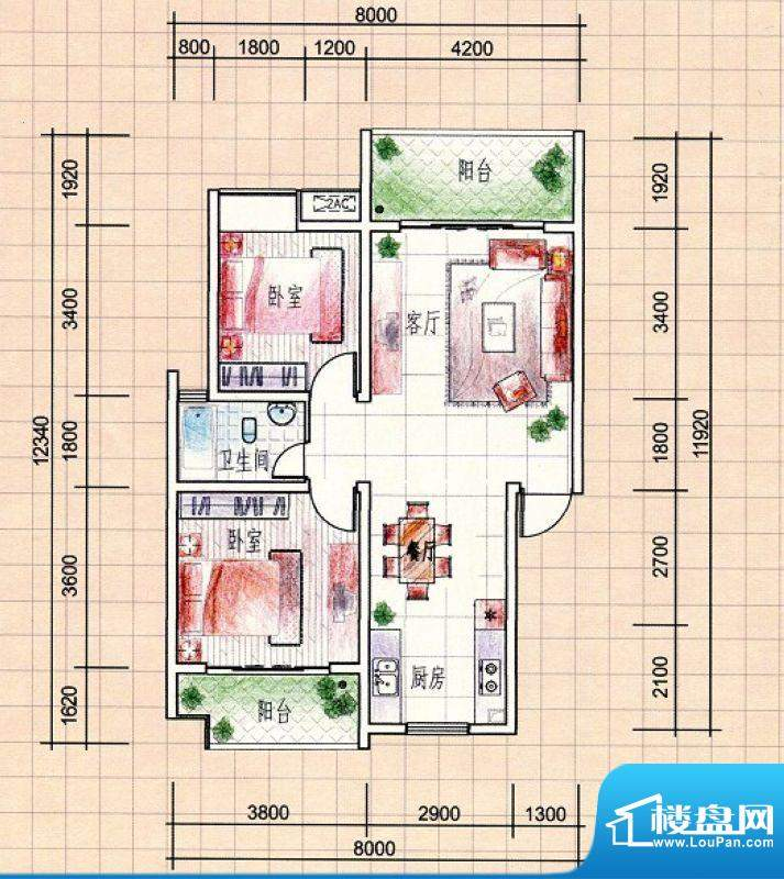 耀辉美好家园12#3—面积:85.69m平米