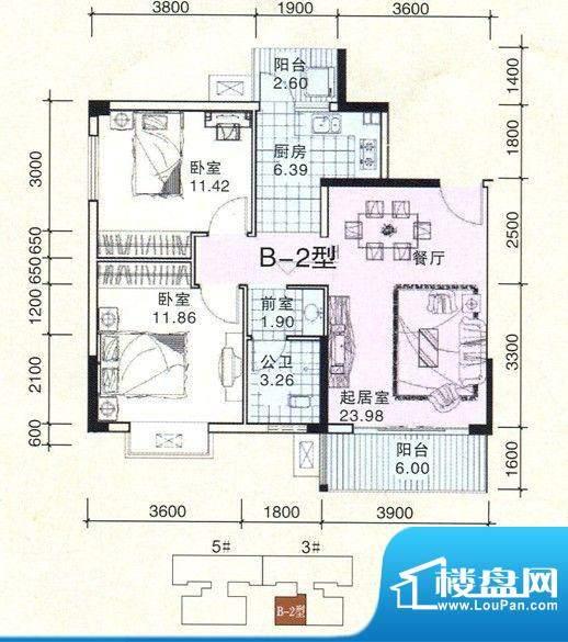 民鑫飞虎林居B-2户型面积:83.91m平米