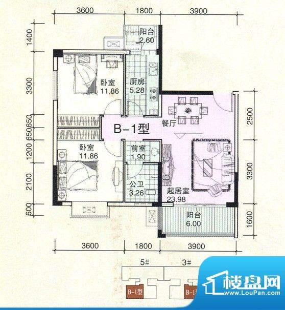 民鑫飞虎林居B-1户型面积:82.70m平米