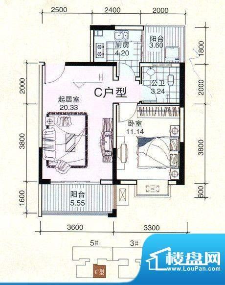 民鑫飞虎林居C户型图面积:58.75m平米
