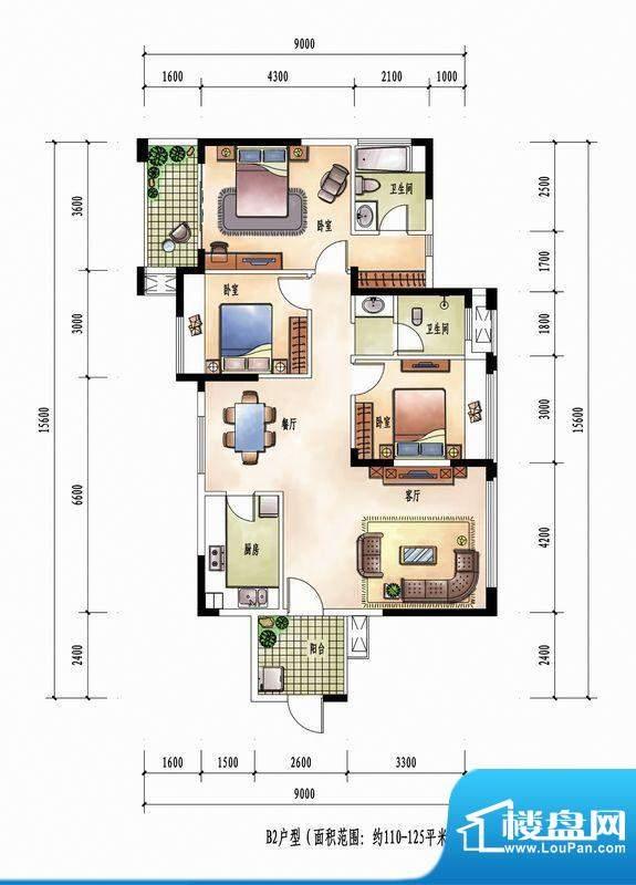 花样年花样城12#楼B面积:125.00m平米