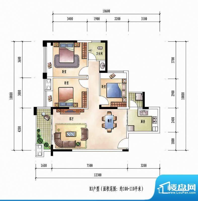 花样年花样城12#楼B面积:110.00m平米