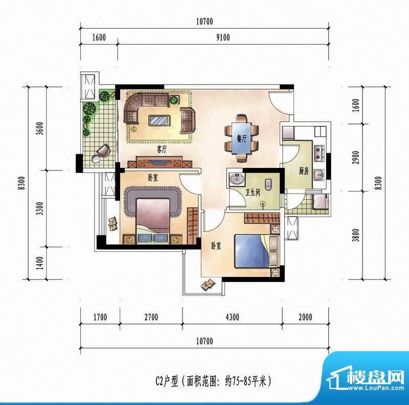 花样年花样城12#楼C面积:85.00m平米
