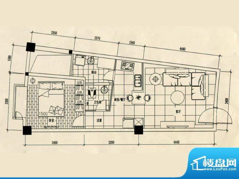 合美大楼标准层D户型面积:0.00m平米