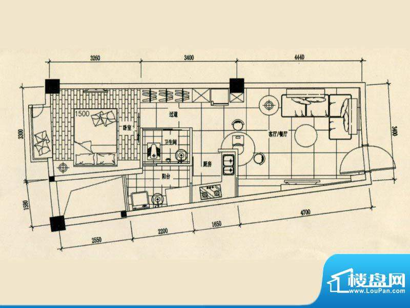 合美大楼标准层C户型面积:0.00m平米