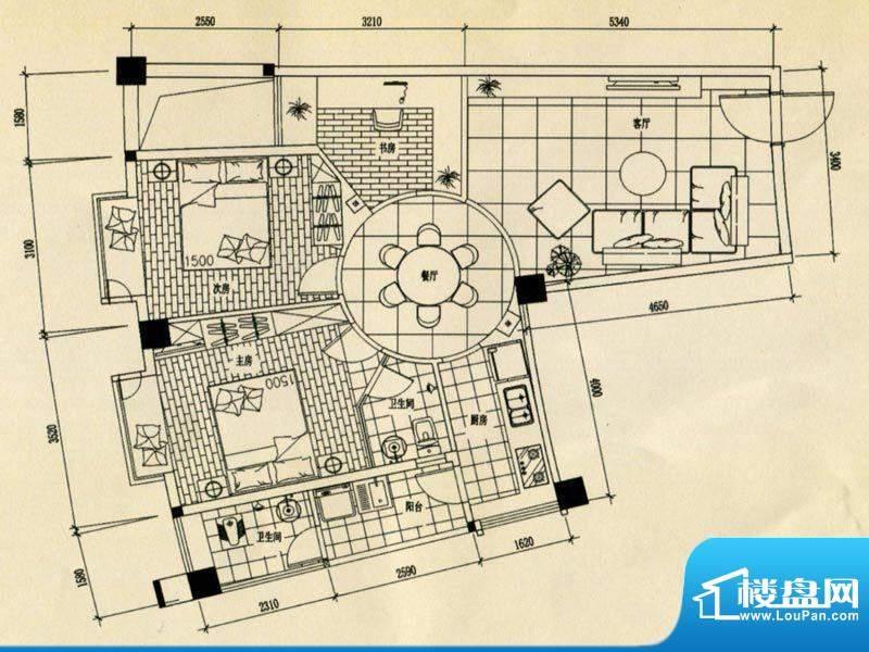 合美大楼标准层A户型面积:0.00m平米