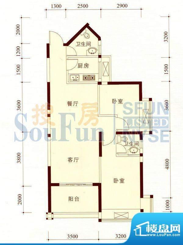 碧海蓝天公寓05/10套面积:84.43m平米