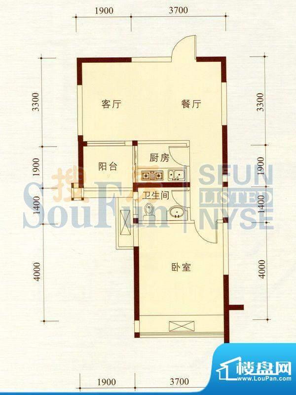 碧海蓝天公寓06/9套面积:56.08m平米