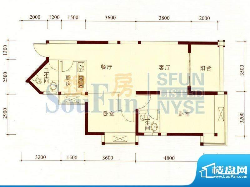 碧海蓝天公寓04/11套面积:84.43m平米