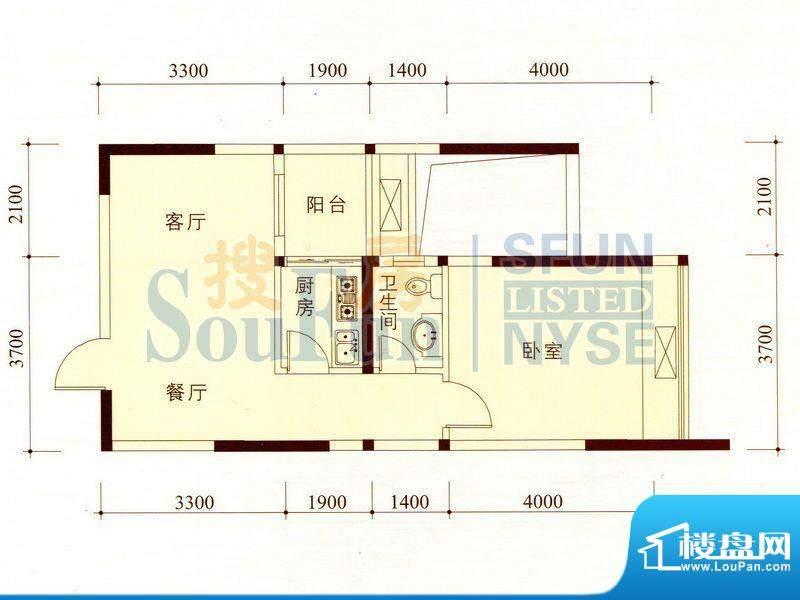 碧海蓝天公寓03/12套面积:56.96m平米