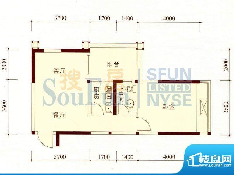 碧海蓝天公寓02/13套面积:57.44m平米