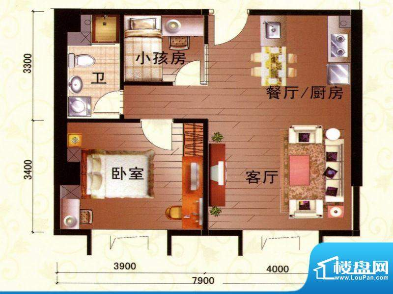 柏宝大厦08-10房1户面积:78.87m平米