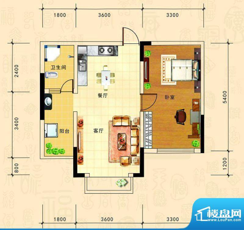 金源新城福邸嘉园25面积:57.77m平米